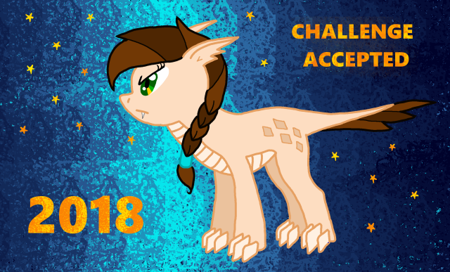 DragonQA staring at 2018 with note above her saying challange accepted